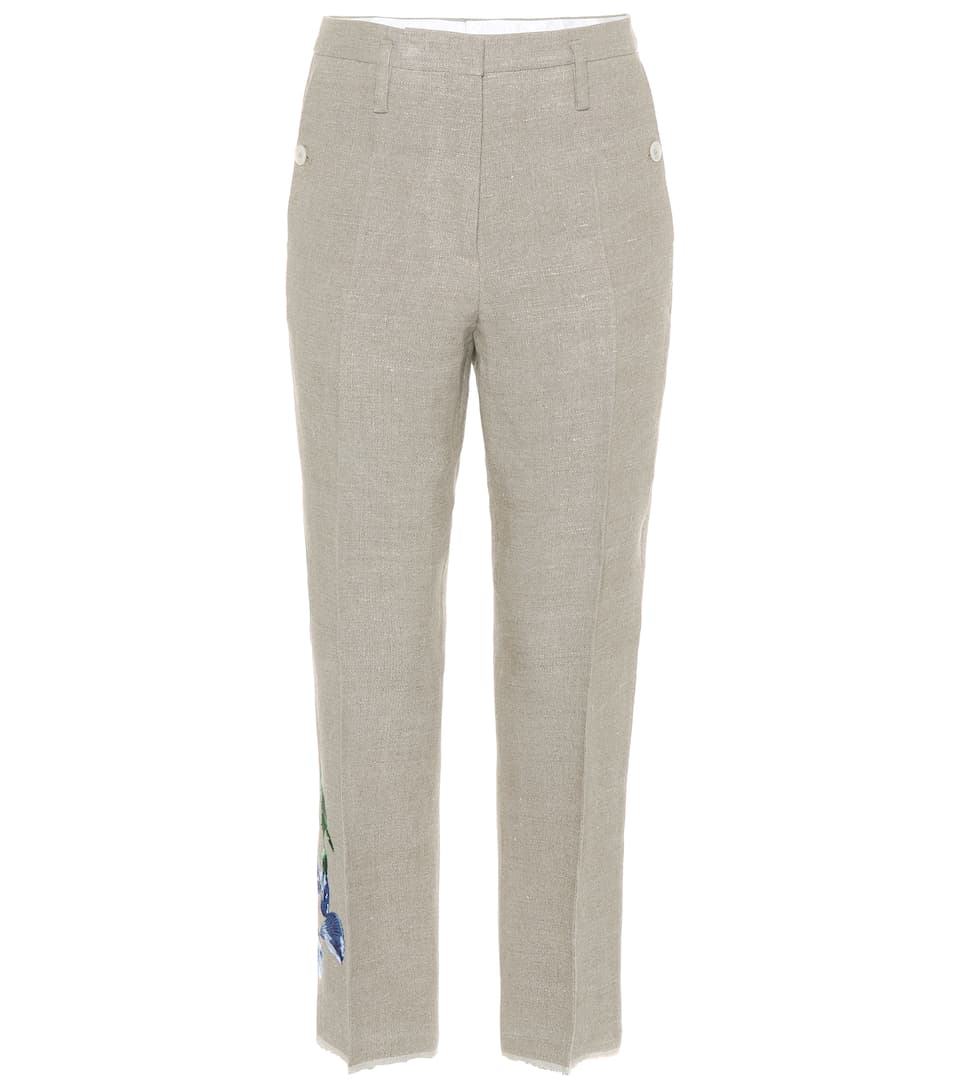 Golden Goose Deluxe Brand Embroidered Trousers From Linen