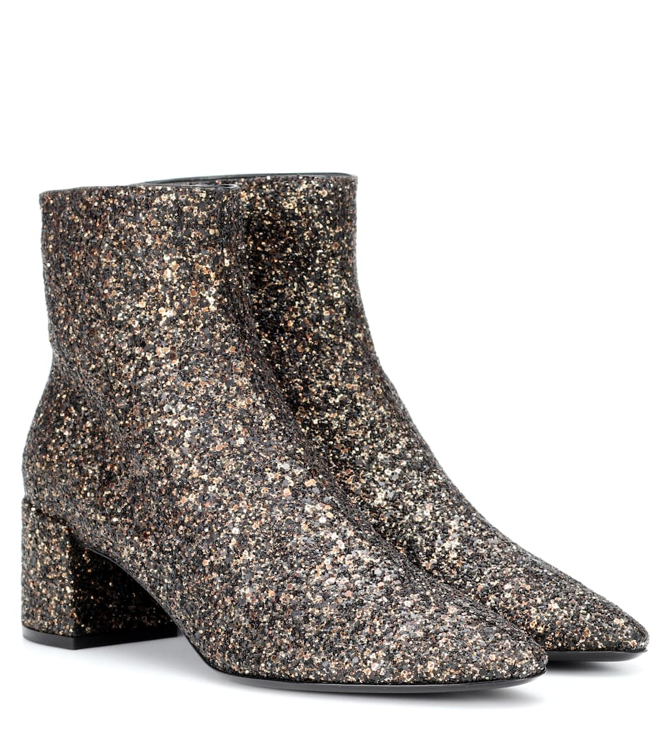 Loulou 50 Glitter Ankle Boots by Saint Laurent