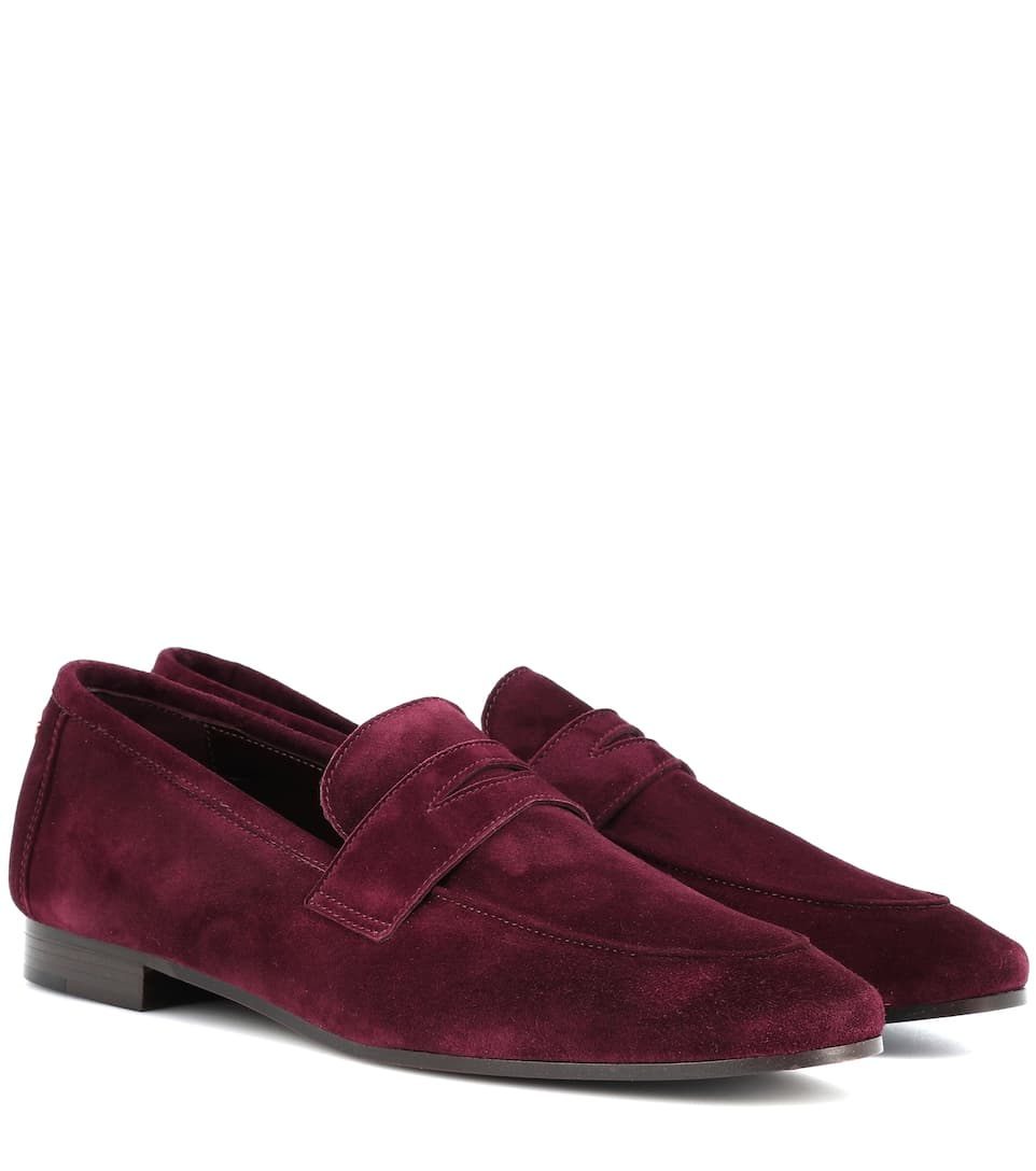 BOUGEOTTE Classic Suede Loafers in Red
