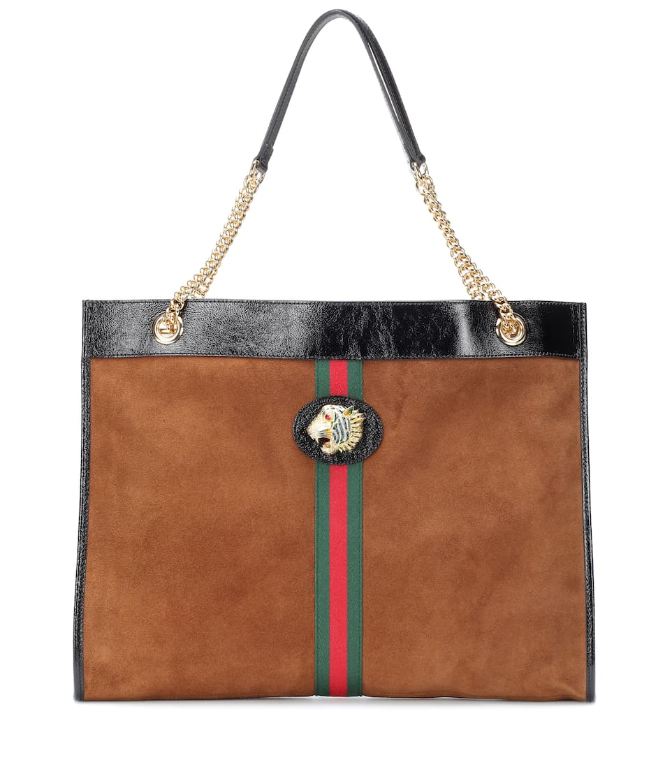 Large Tiger Head Suede Tote by Gucci