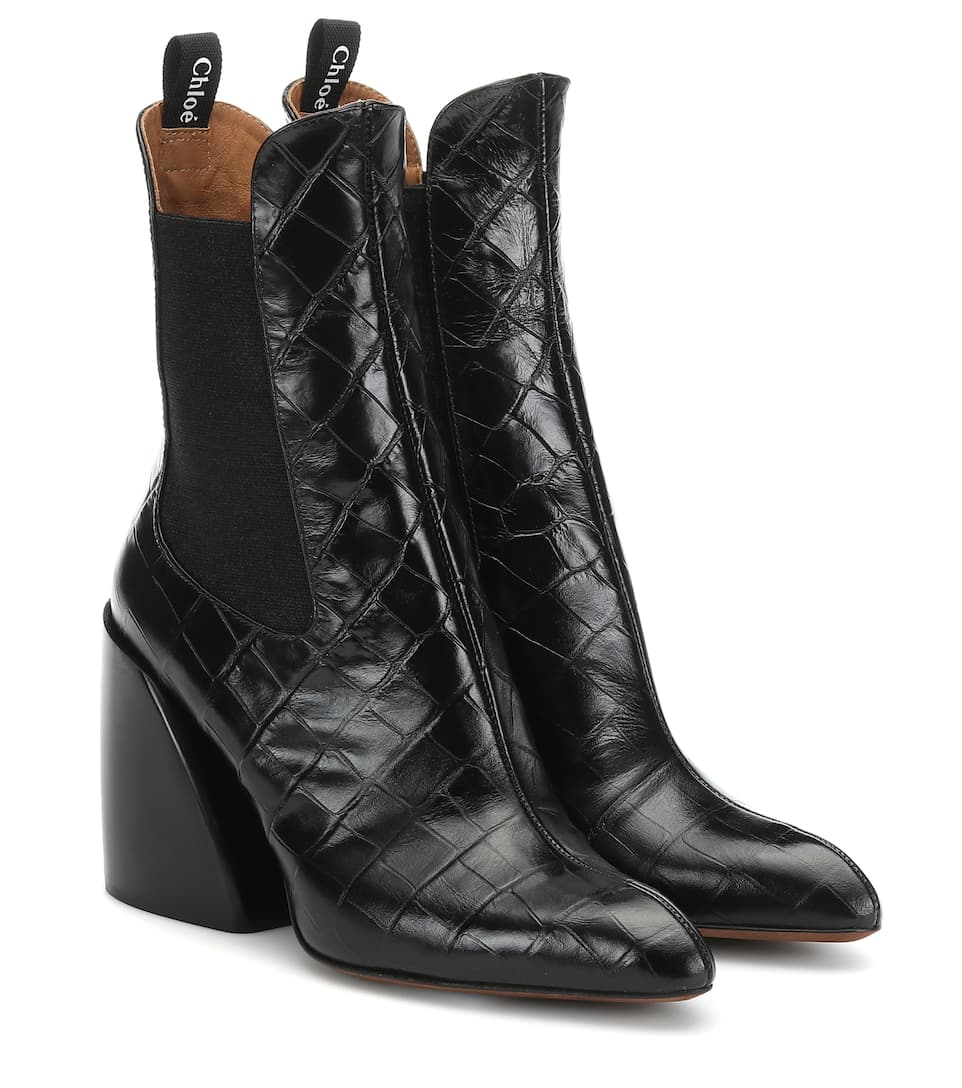 e9d88c95539b Wave Embossed Leather Ankle Boots - Chloé