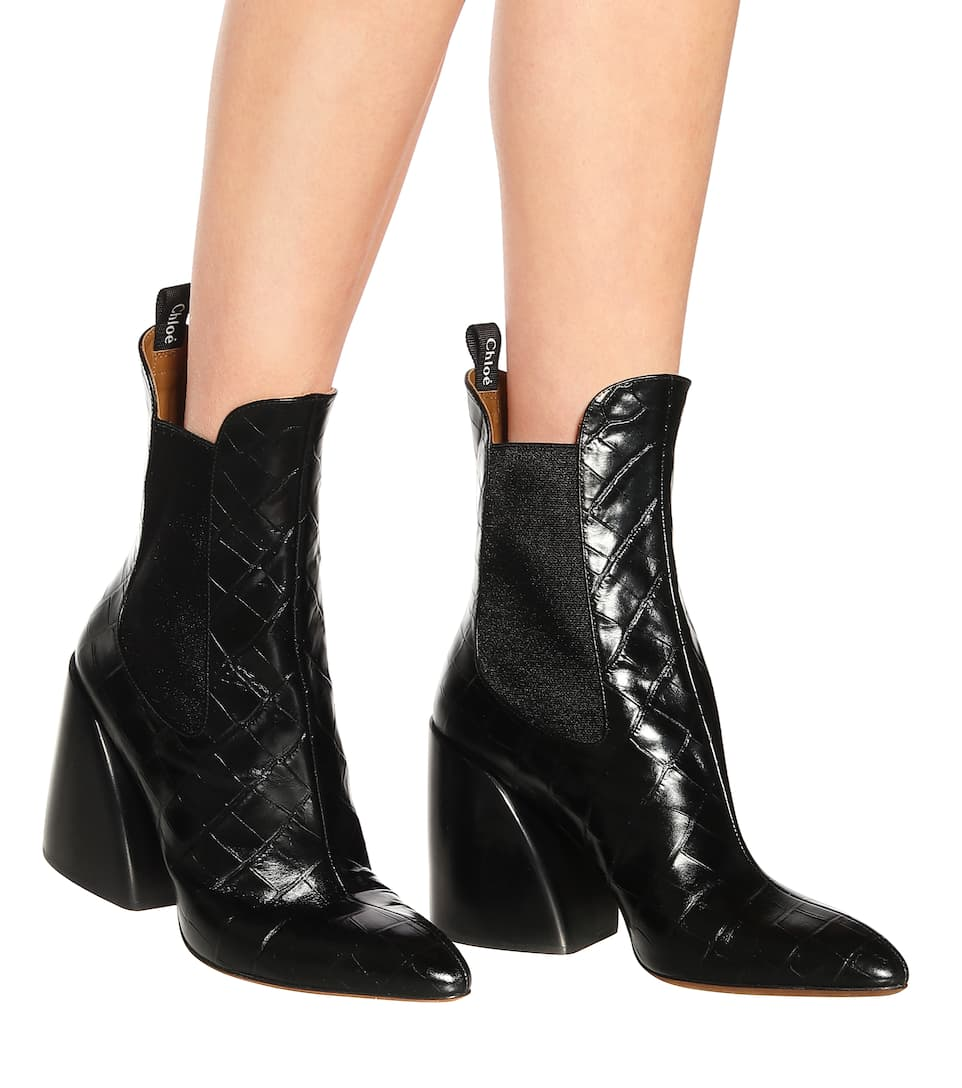bfbc18541afe Wave Embossed Leather Ankle Boots - Chloé
