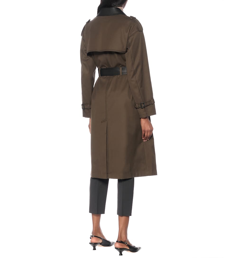 Tod's - Gabardine and leather trench coat