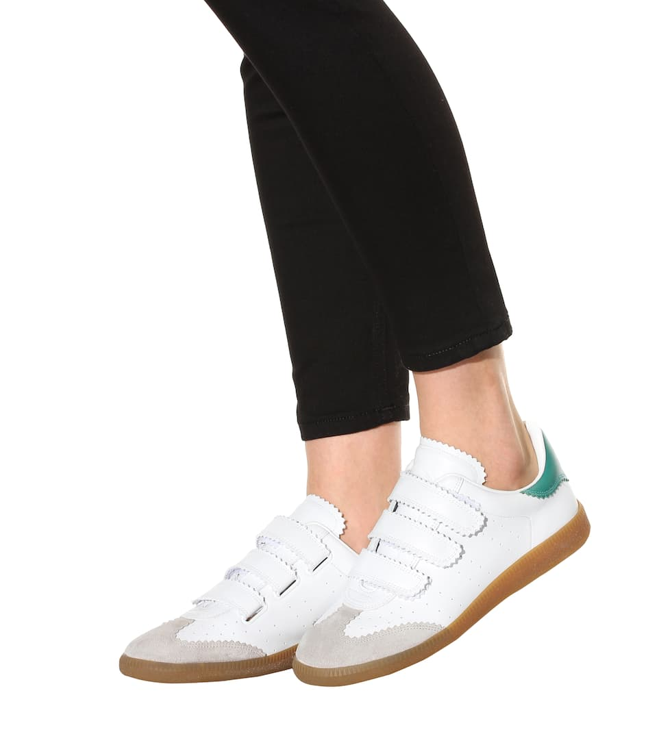 isabel marant 20mm beth leather sneakers off white green modesens. Black Bedroom Furniture Sets. Home Design Ideas