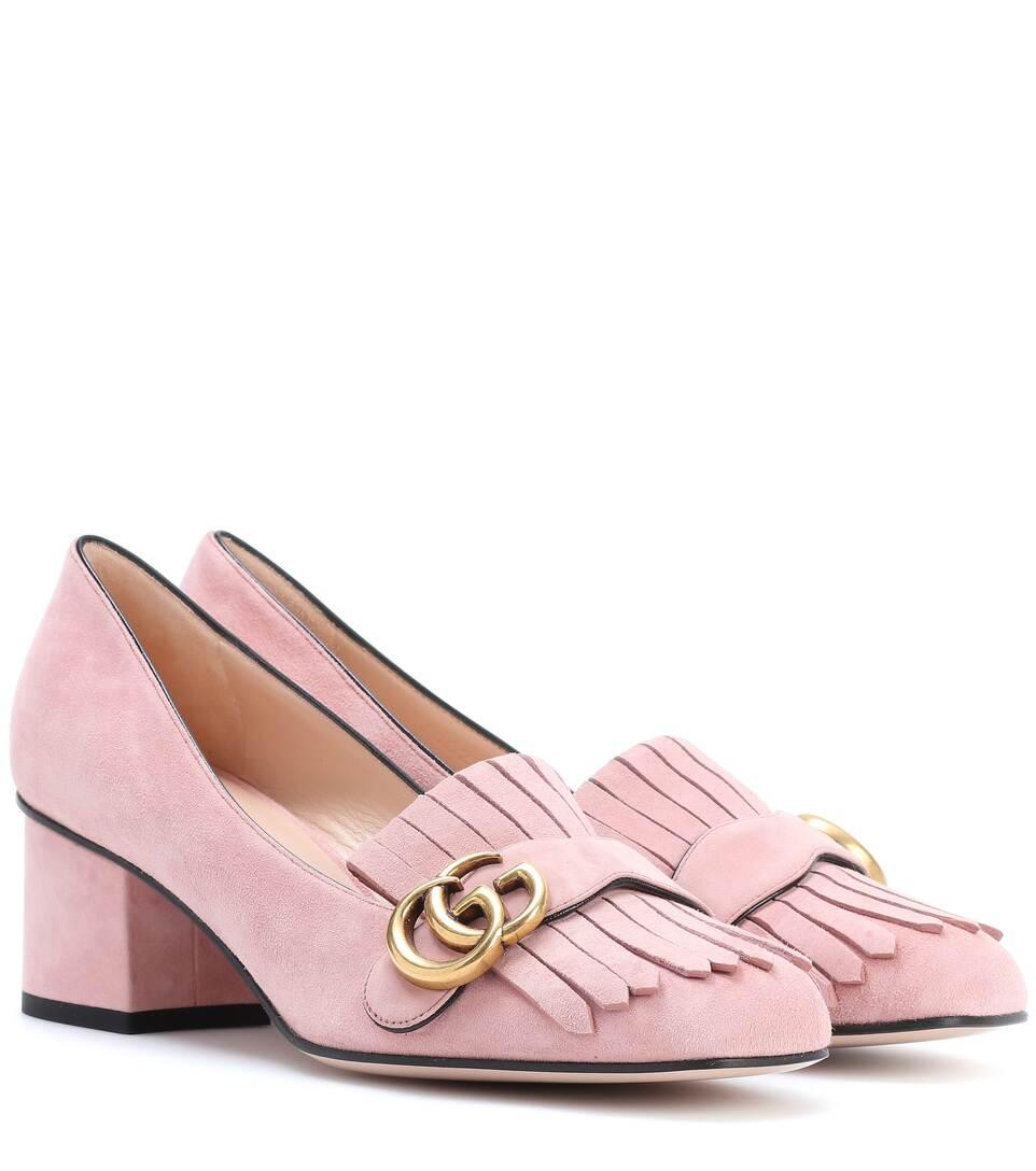 Suede loafer pumps