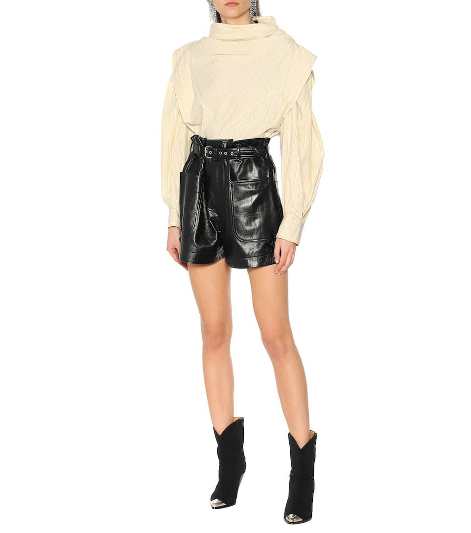 Xike High-Rise Leather Shorts - Isabel Marant