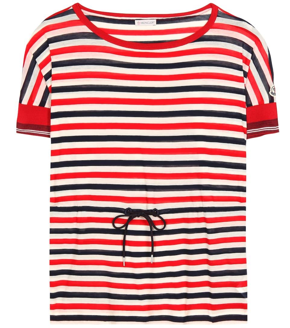 Moncler Gestreiftes Baumwoll-T-Shirt mit Bindedetail