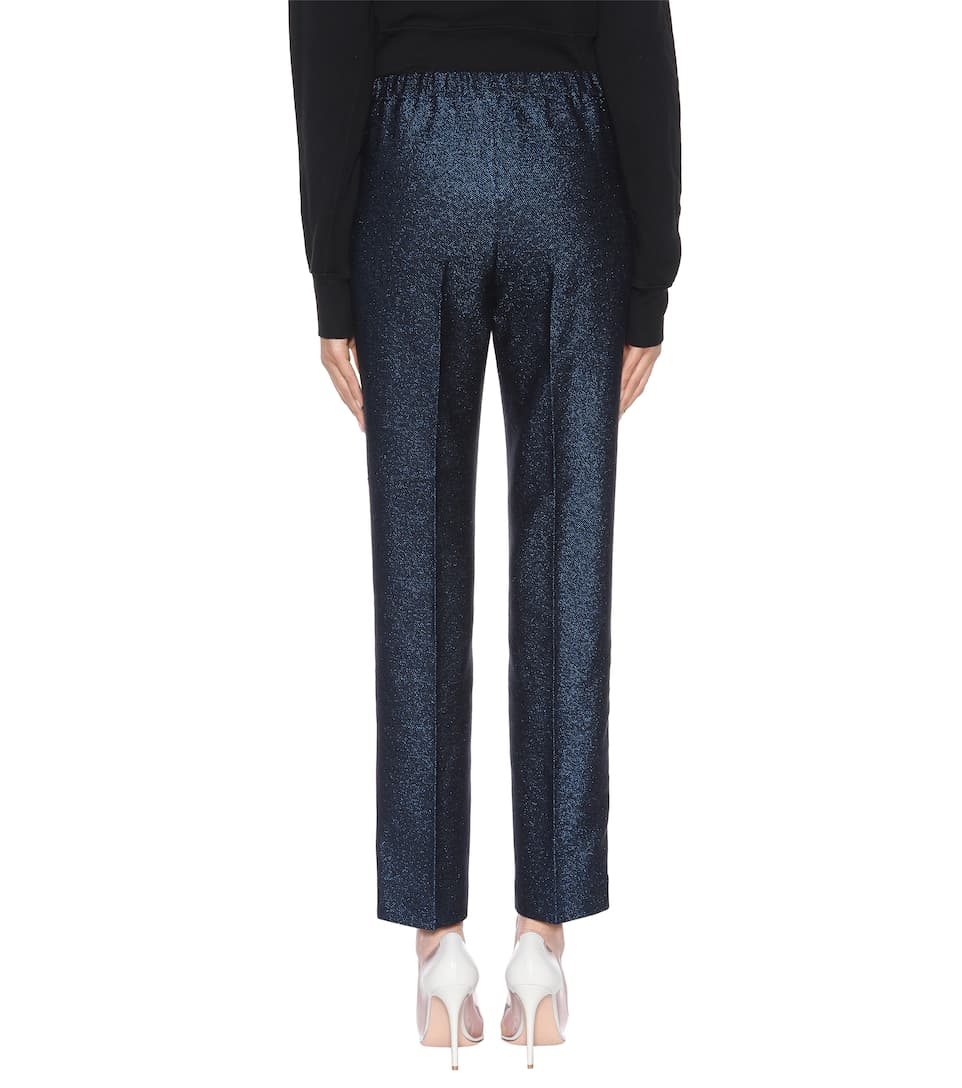 Lurex Golden Armida slim Brand Deluxe Azul Marino Goose pantalones metalizados slim 6qrv6H