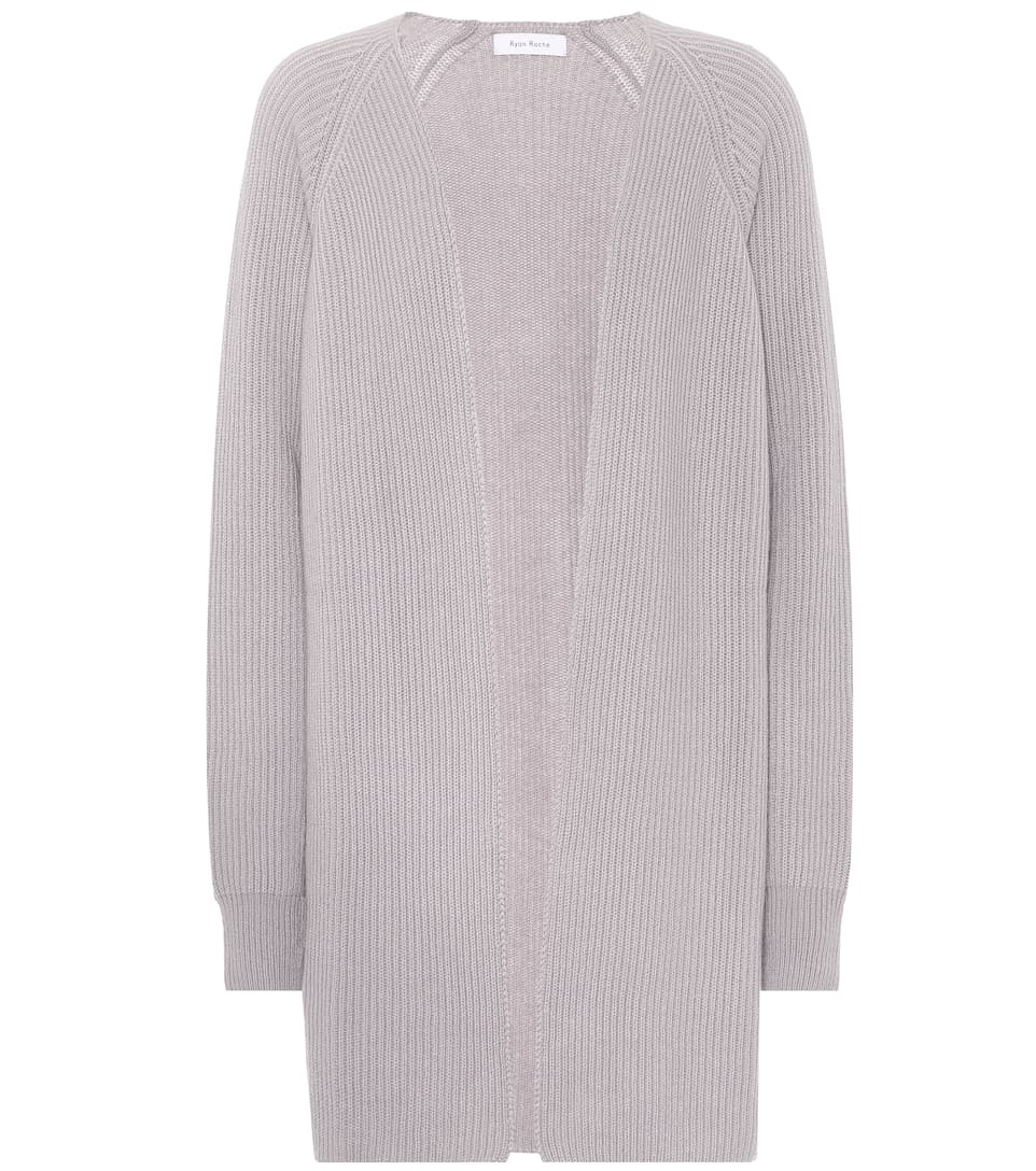 RYAN ROCHE RIBBED CASHMERE CARDIGAN