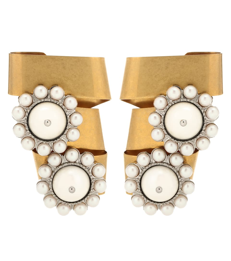 Gold-Plated Crystal And Faux Pearl Clip Earrings, Female