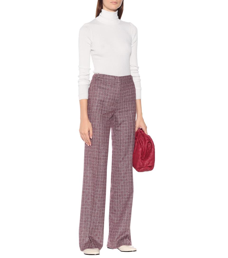Pantaloni Torres a quadri in lana e angora