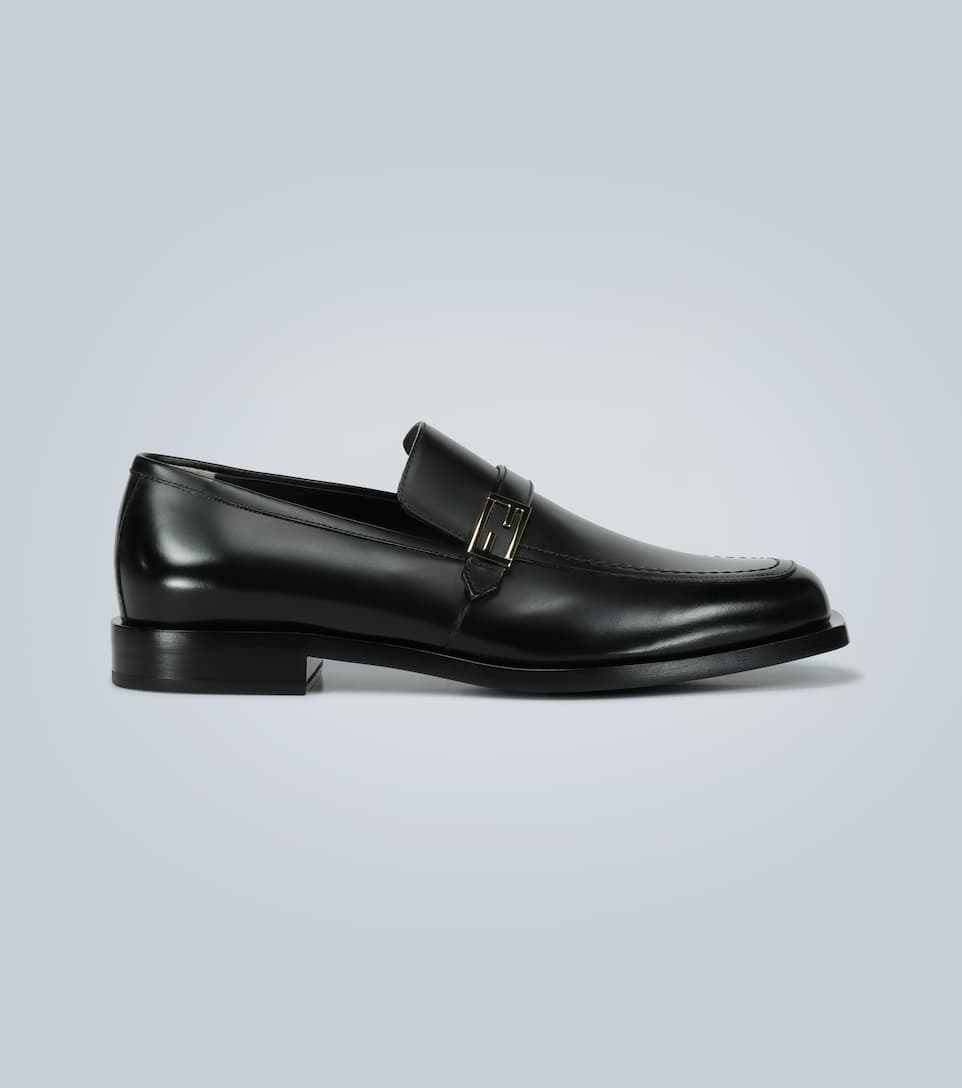 Leather Loafers With Logo - Fendi