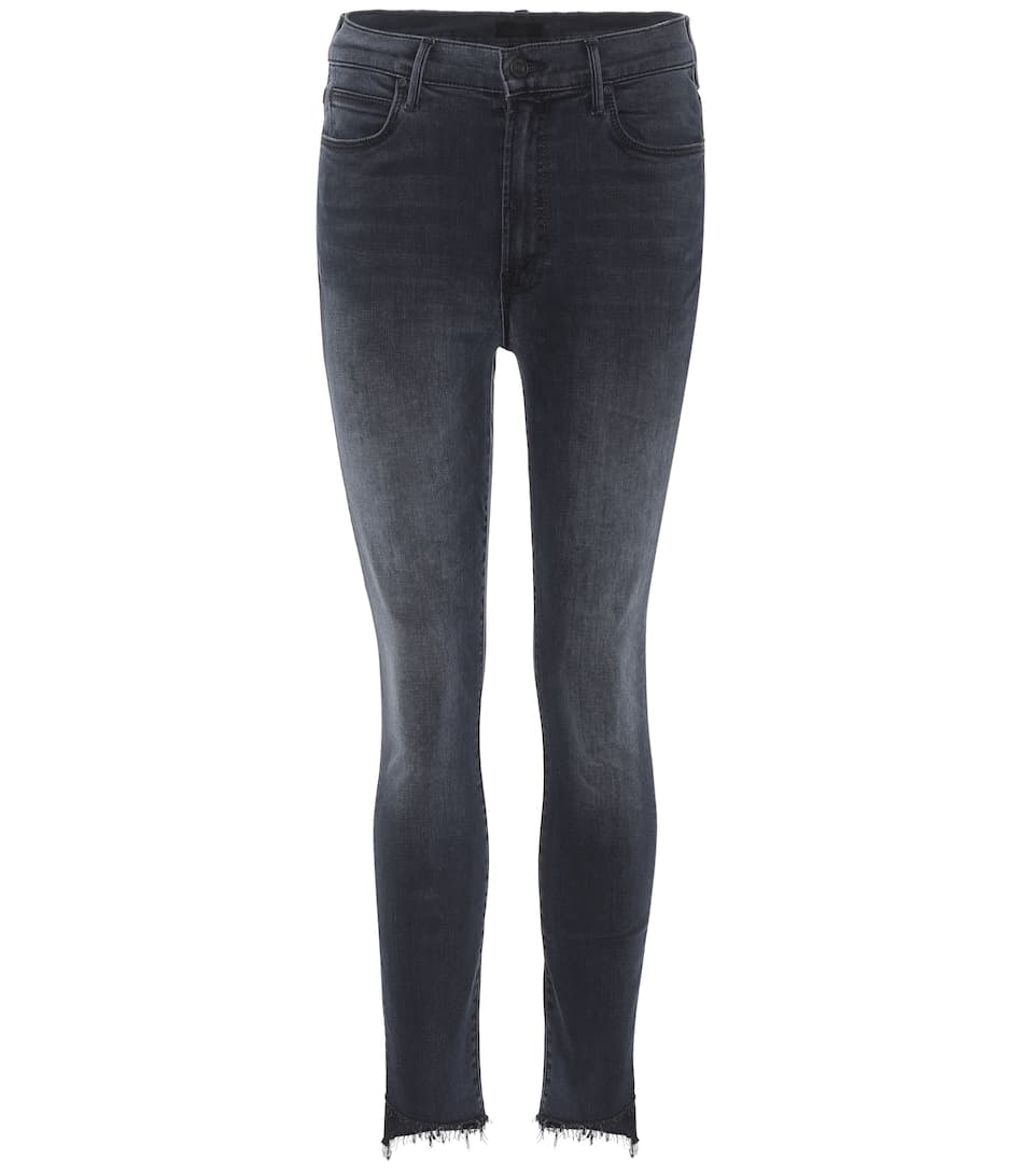 MOTHER Stunner Frayed Step-Hem Skinny Jeans In Last Call in Blue
