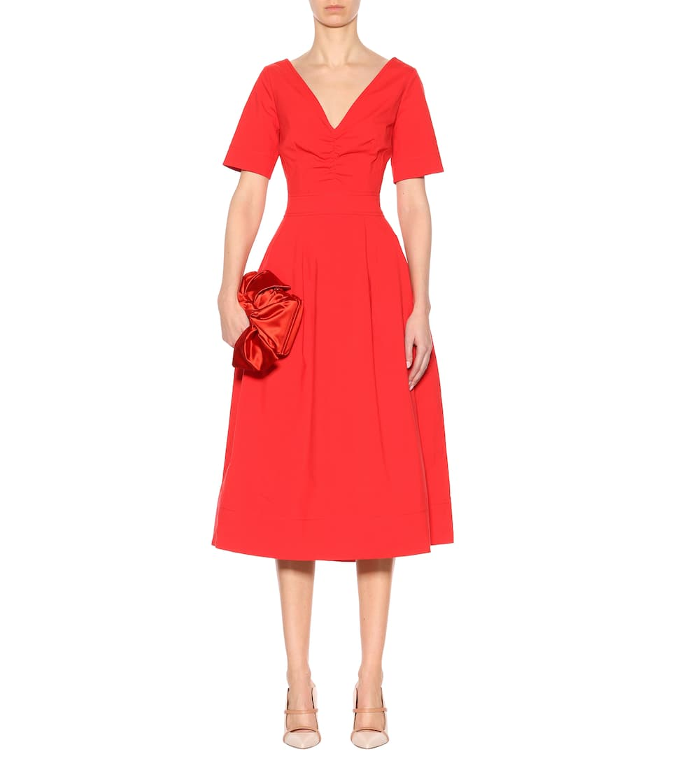Oscar De La Renta Midi Dress Scarlet From Stretch Cotton