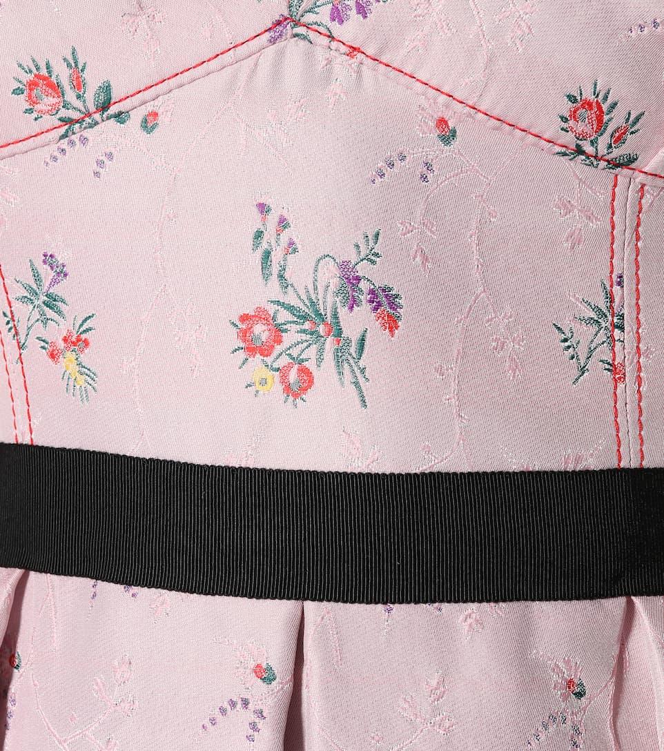 Multicolor de Herrera Carolina Orchid y mezcla en floral algodón Vestido seda 0xvwdB