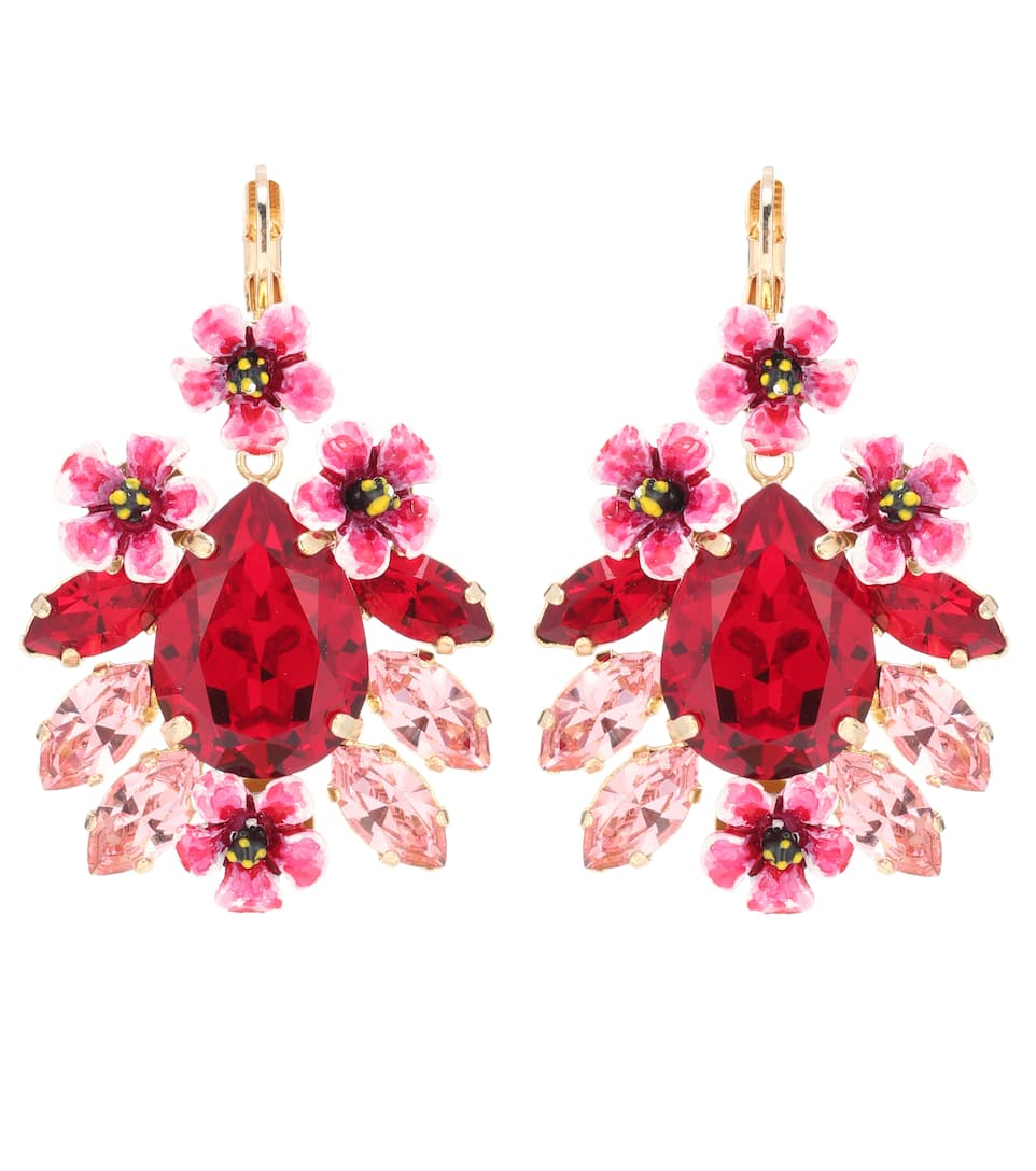 Crystal And Resin Floral Earrings by Dolce & Gabbana