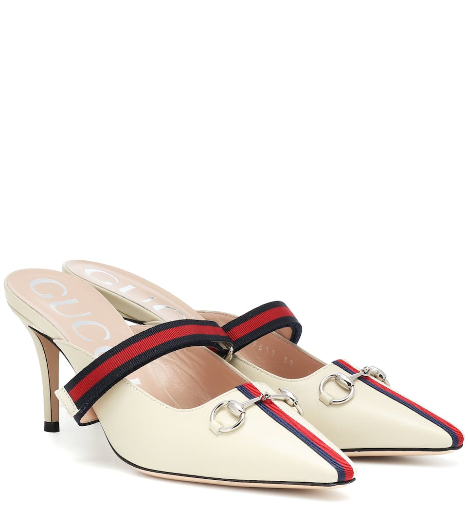 Web Leather Mules by Gucci