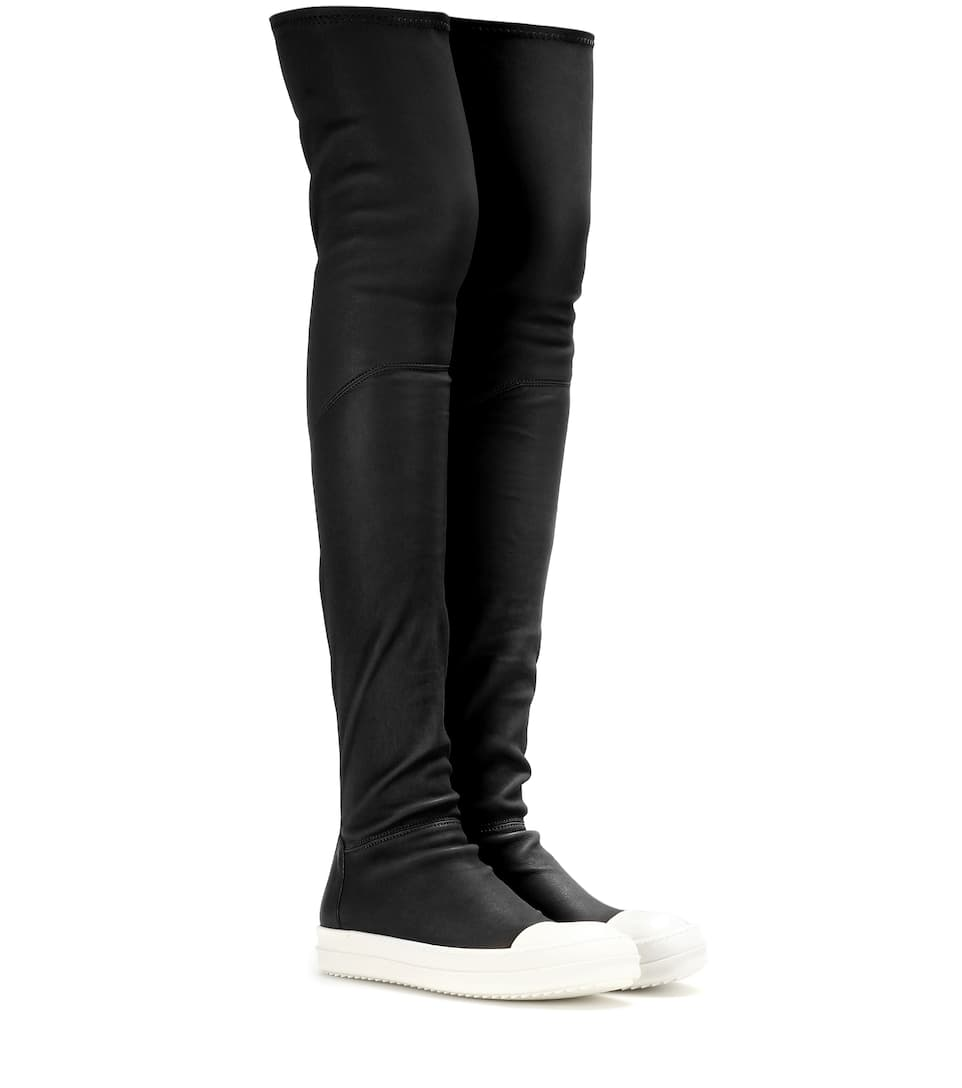 Rick Owens Woman Leather Wedge Over-the-knee Boots Black Size 41 Rick Owens Cheap Online Store Manchester Buy Cheap Wholesale Price Outlet Find Great rWABZP4z