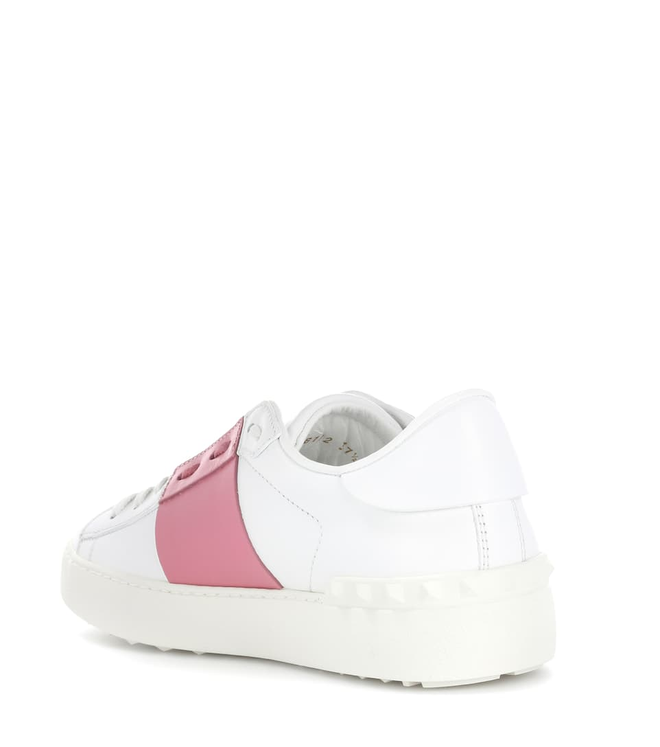 VALENTINO Open Leather Sneakers With Metallic Band, White/Platinum in Rose Gold