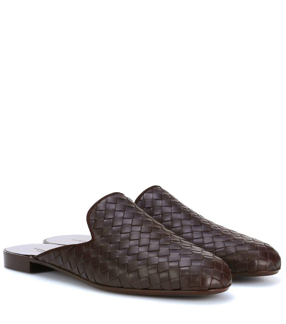 Bottega Veneta Slippers aus Intrecciato-Leder