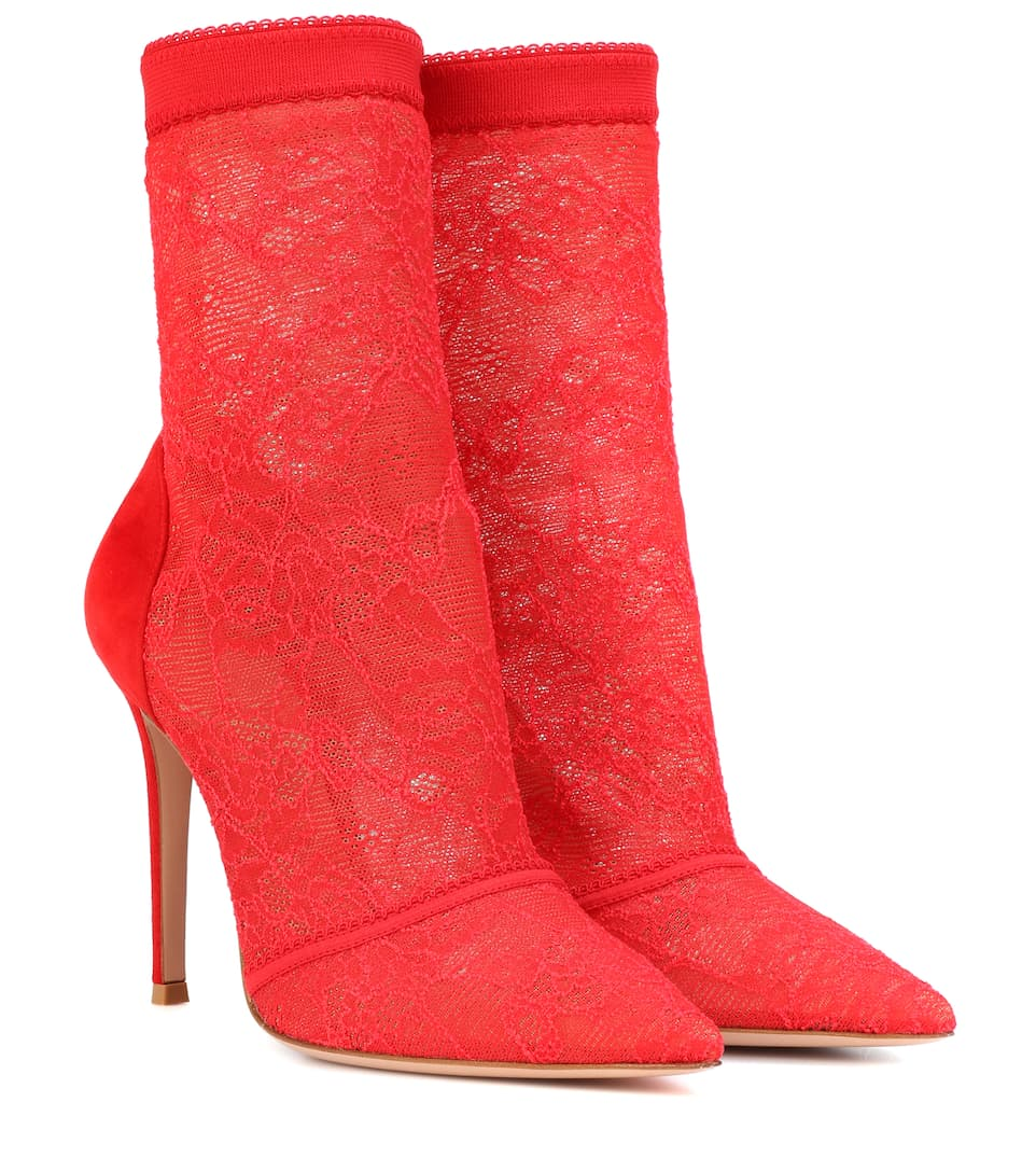 Gianvito Rossi Ankle Boots Brinn aus Spitze