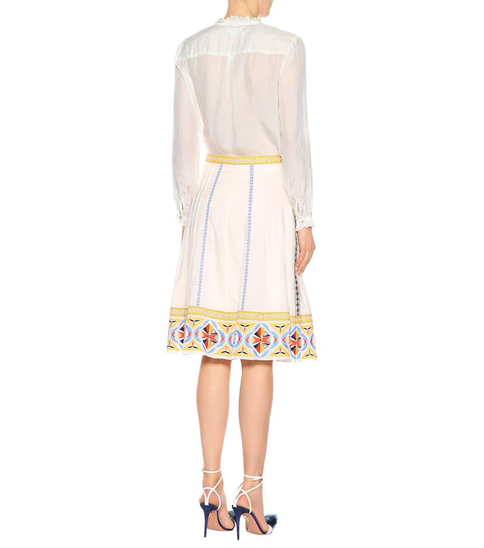 Adriana bordado New con de Ivory Tory Falda algodón Burch Hqax7Yt