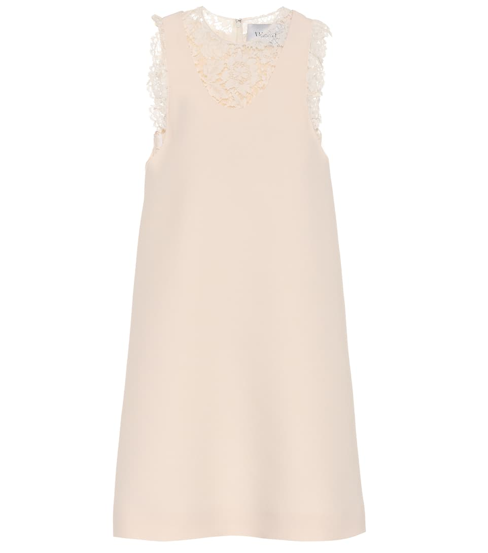 Valentino Sleeveless silk and wool dress Blanc Clearance Sale Online All Size Shop For PsCQD