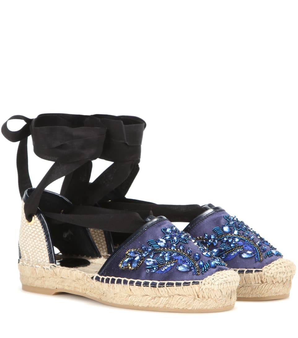 popular cheap price shopping online original Oscar de la Renta Embellished Slingback Espadrille Wedges affordable for sale FzSQfDuQi