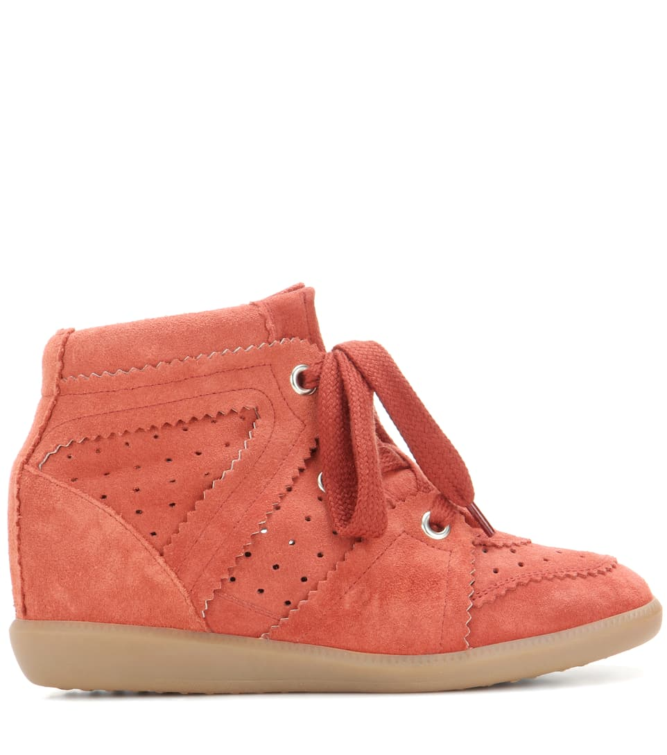 2 stores in stock isabel marant toile bobby suede wedge sneakers faded red modesens. Black Bedroom Furniture Sets. Home Design Ideas