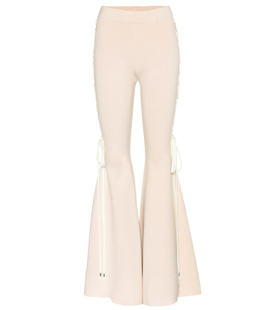 COTTON-BLEND FLARED TROUSERS