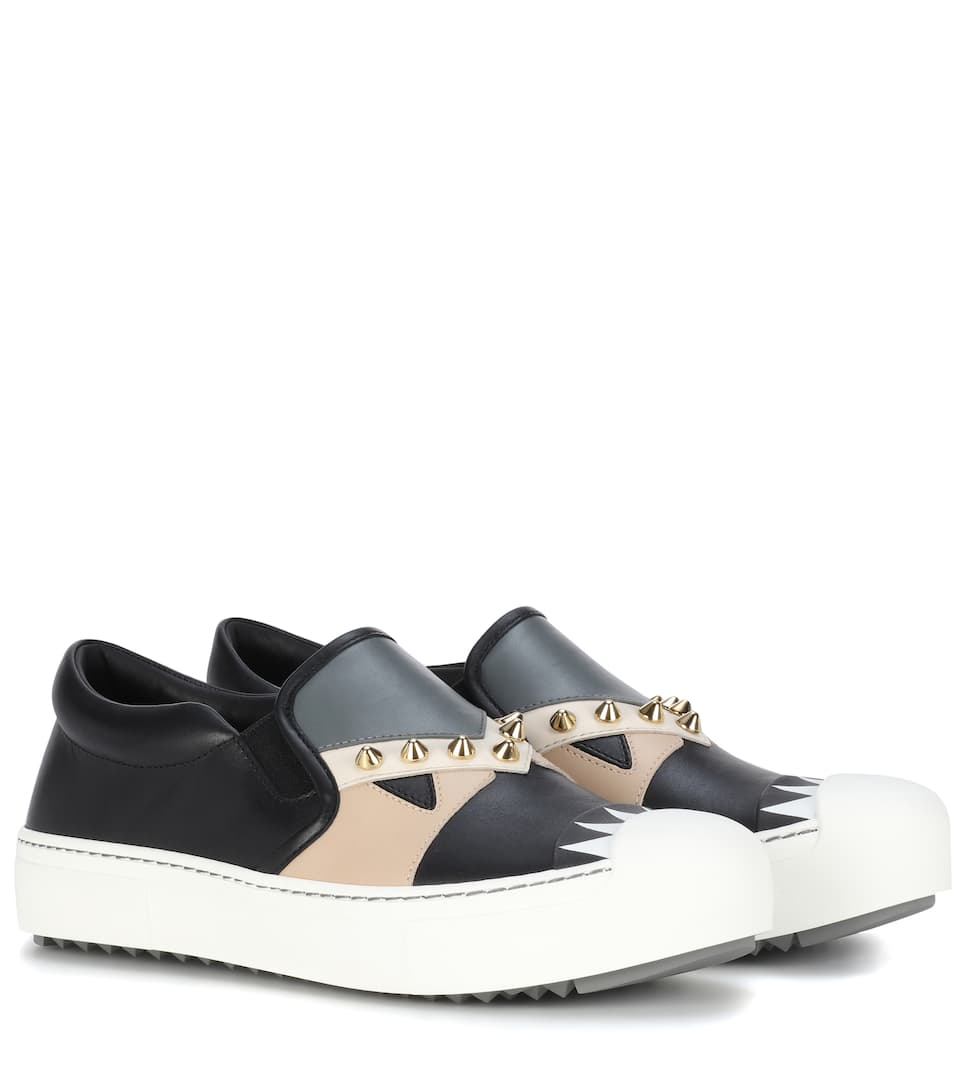 Baskets Slip-On En Cuir - Fendi