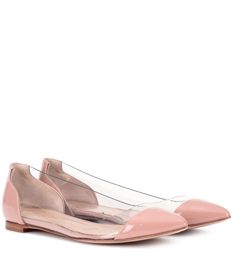 PLEXI FLAT LEATHER BALLERINAS