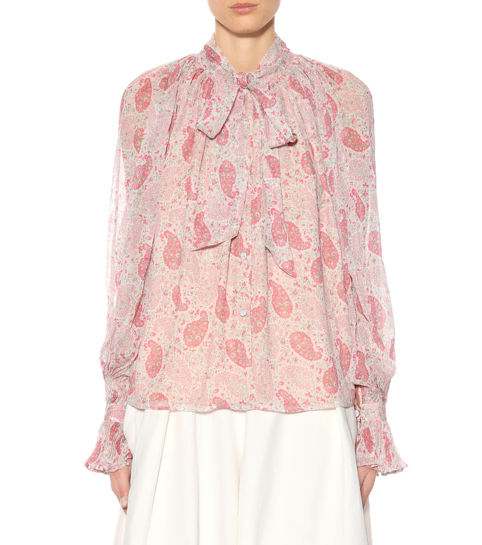 Co-printed Blouse Of Silk Mousseline