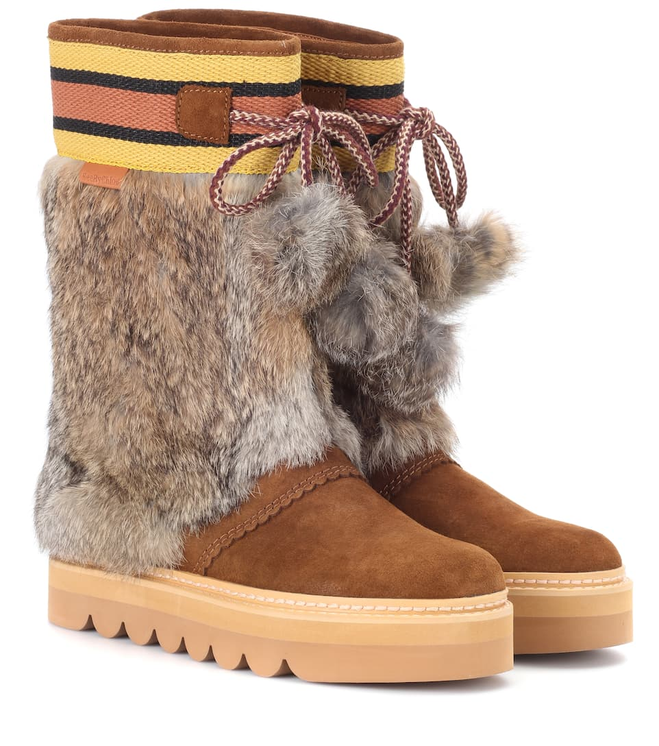 Fur-trimmed suede boots See By Chloé GCRmEfF