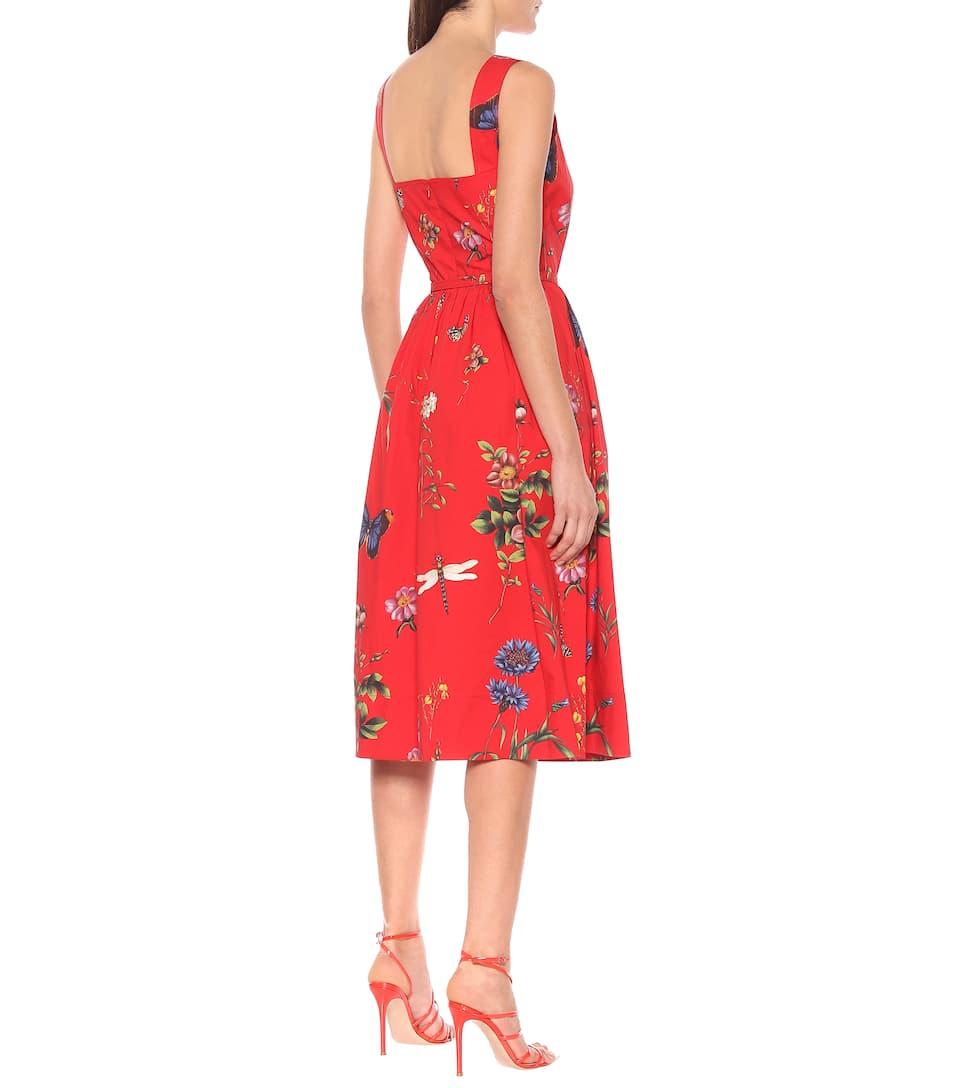 Oscar de la Renta - Floral stretch-cotton dress