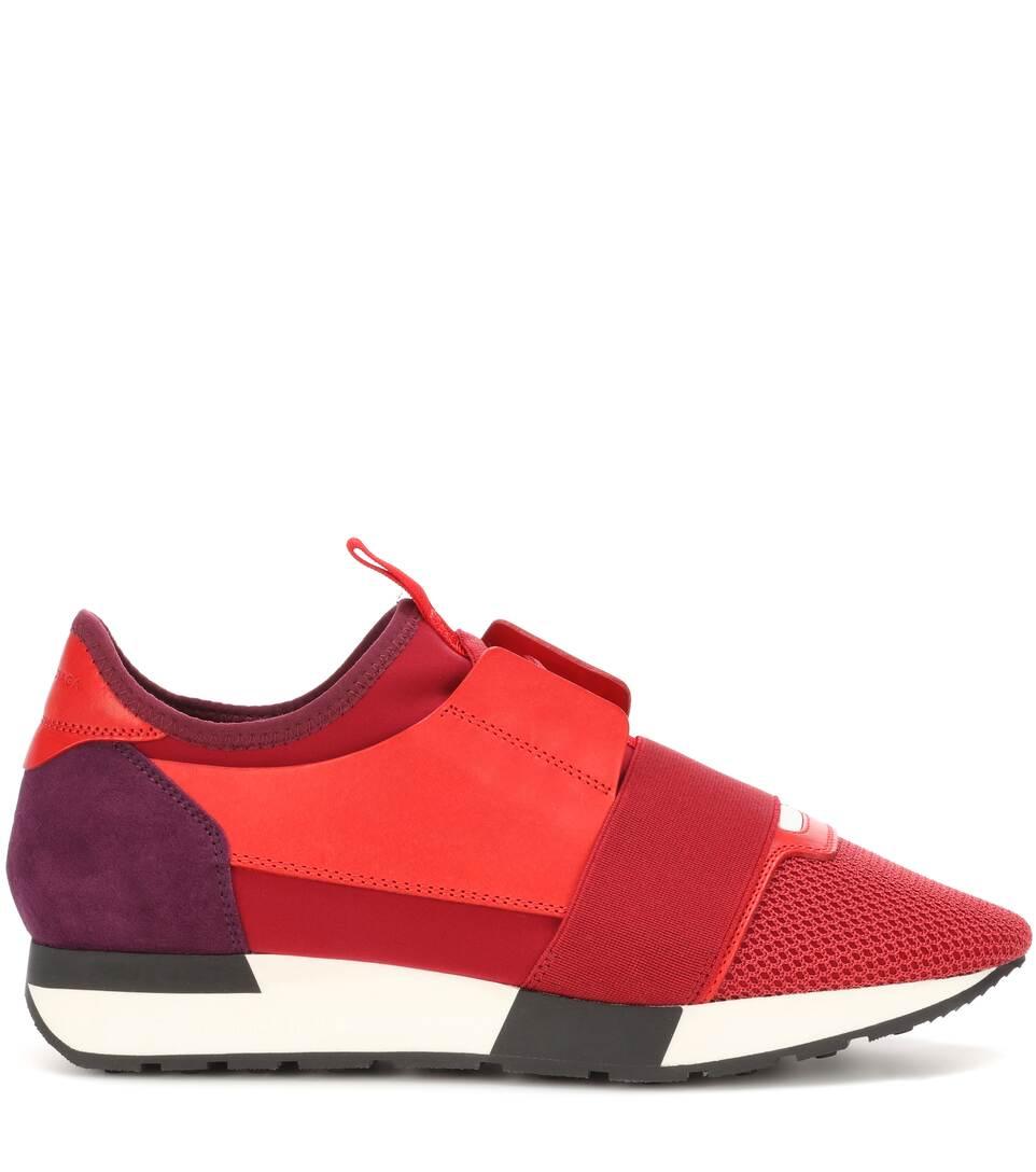 Balenciaga Sneakers Race Runner mit Lederbesatz Online-Bilder Verkauf 2FQXjG