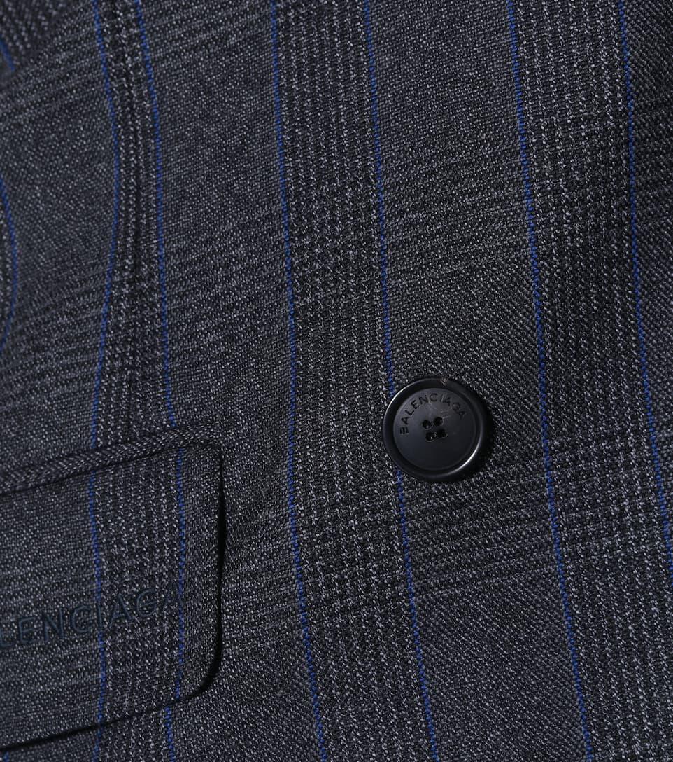 Balenciaga Gezogener zweireihiger Mantel aus Wolle Neue Art Und Weise Stil Billig Verkauf Am Besten Ade5g