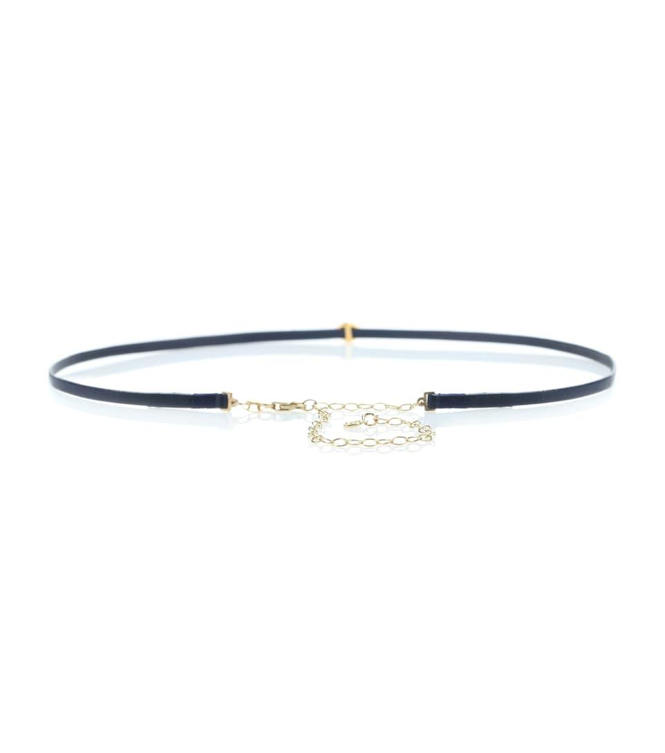 Sydney Evan Small Bezel Evil Eye leather bracelet with 14kt gold, diamonds and sapphire
