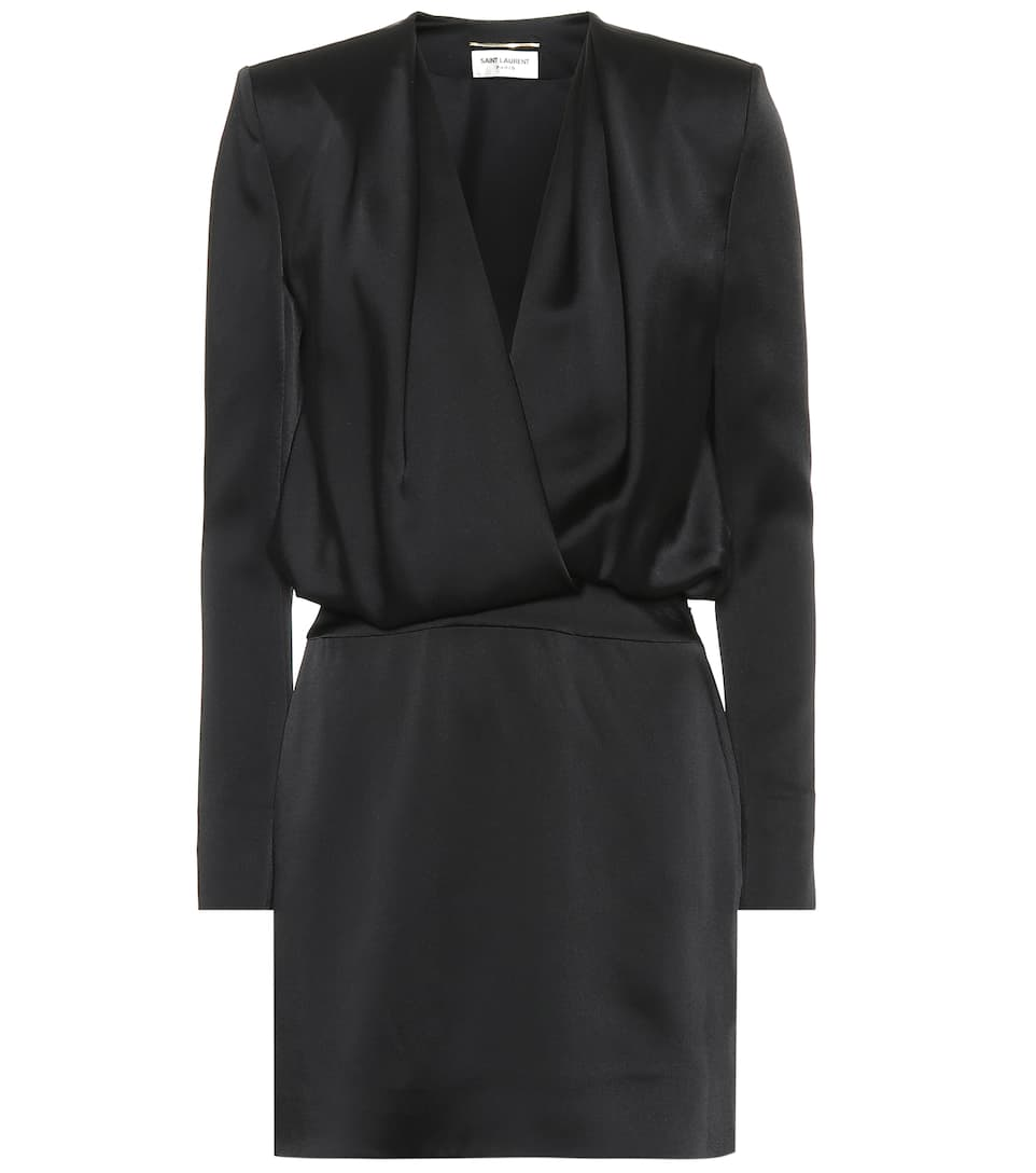 Drapiertes Minikleid Aus Satin by Saint Laurent