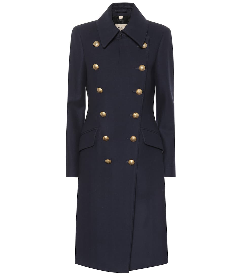 Double Breasted Wool Blend Coat by Burberry