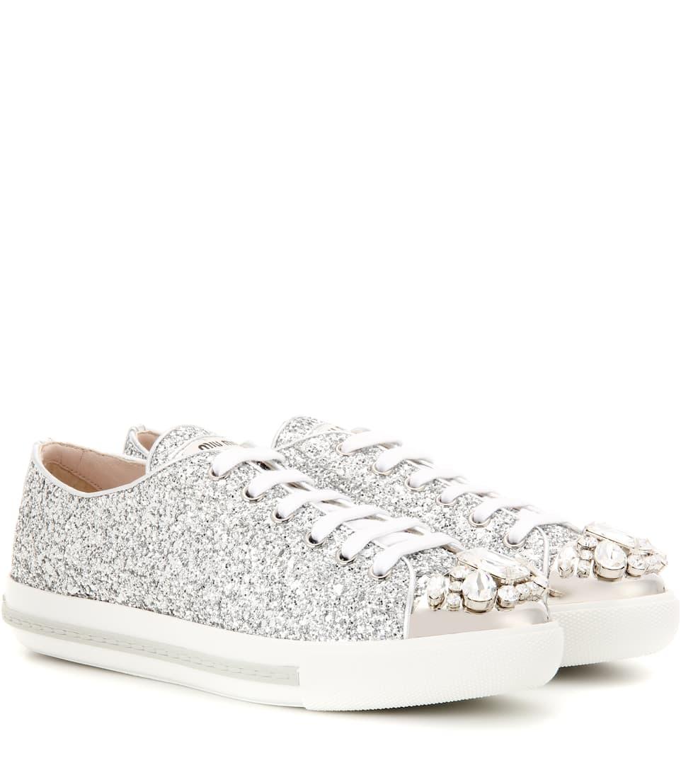 Miu Miu Embellished glitter sneakers