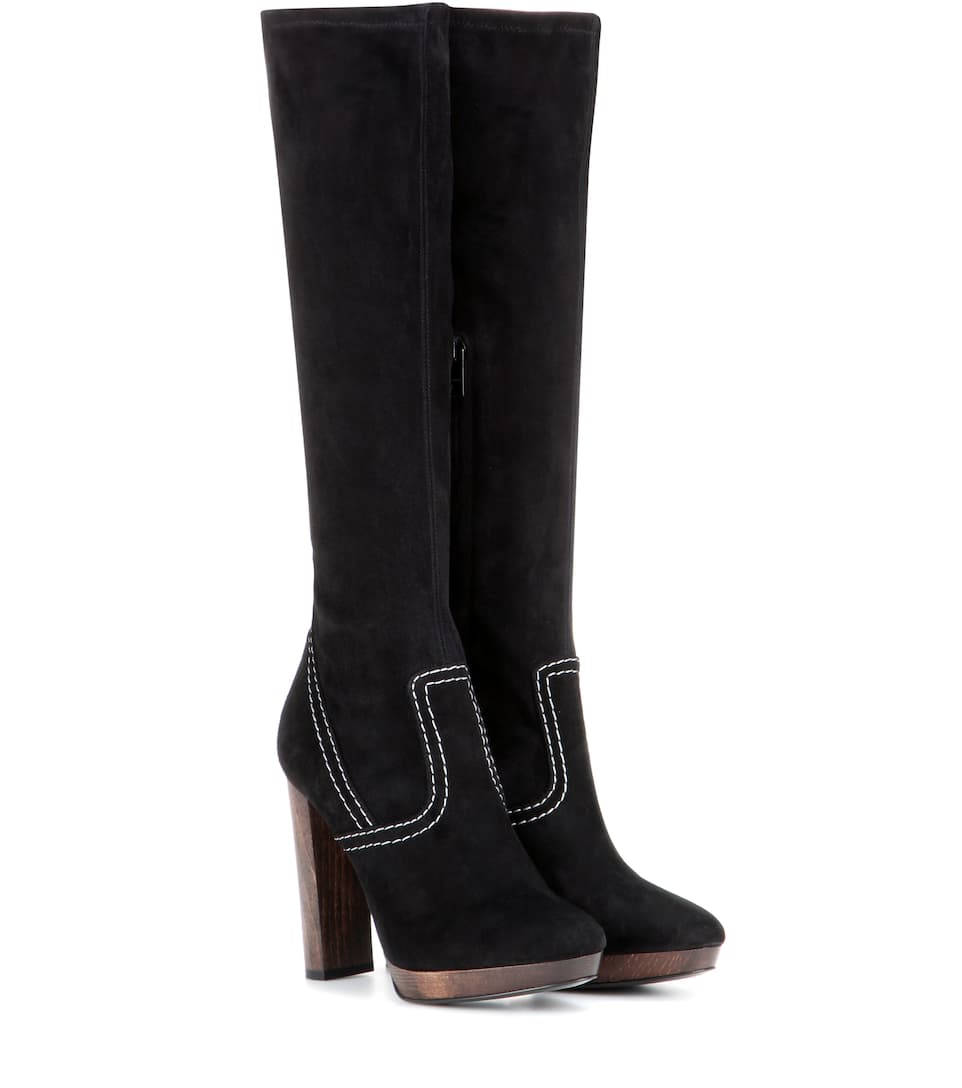Burberry Peardon suede knee-high boots