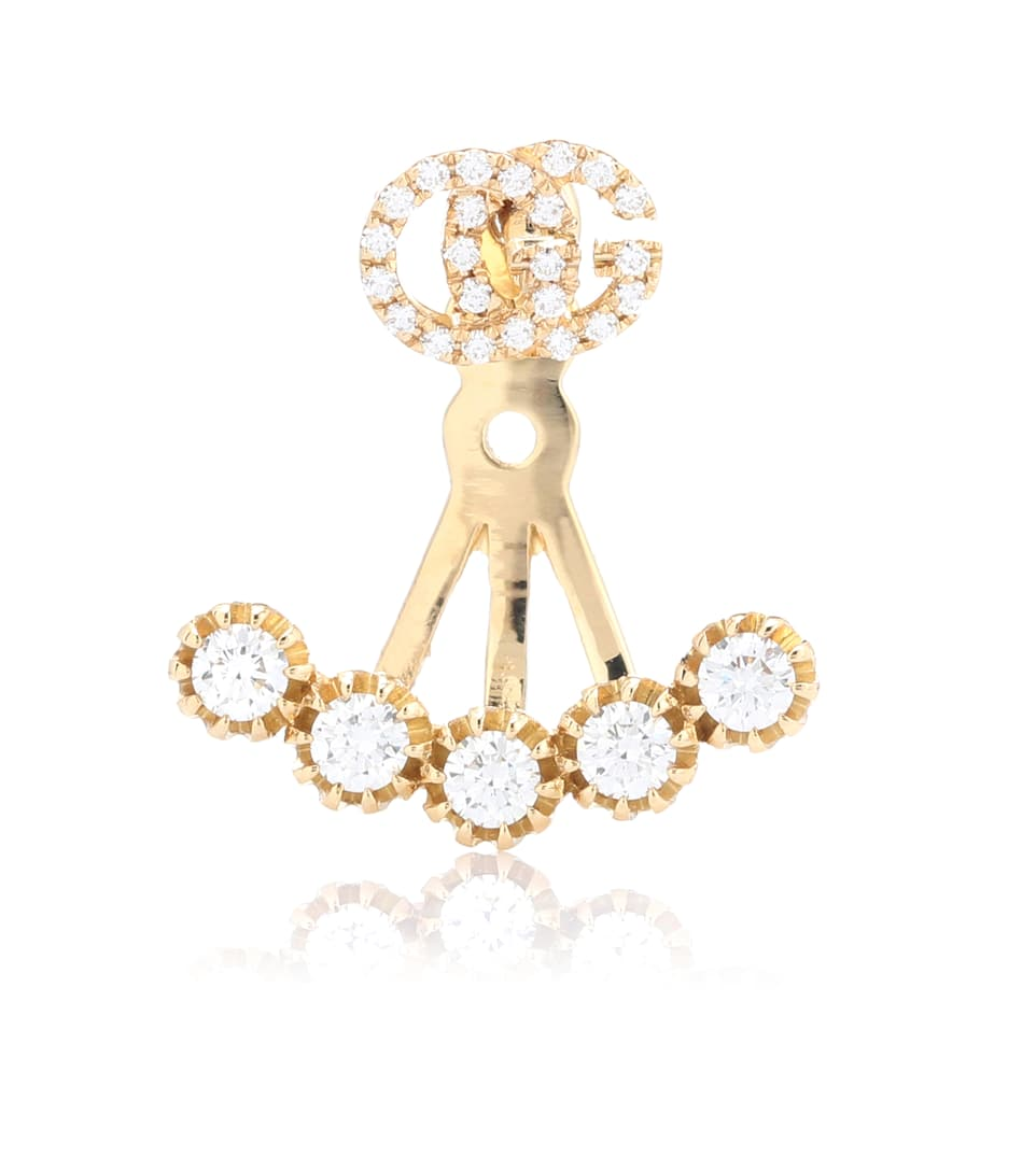 Gucci Running G 18kt gold single earring with diamonds 3dwAC