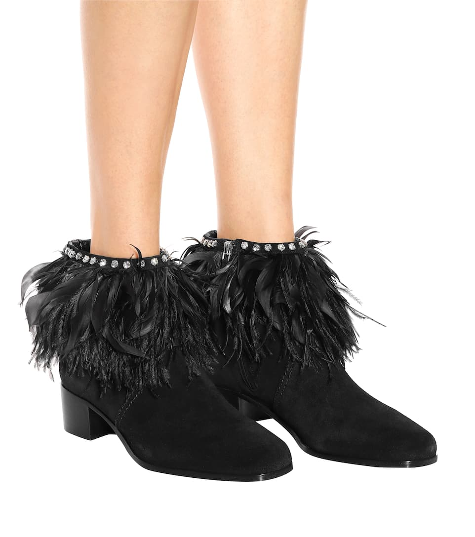 Feather-Trimmed Suede Ankle Boots - Miu Miu Payer Avec Visa xZbyK