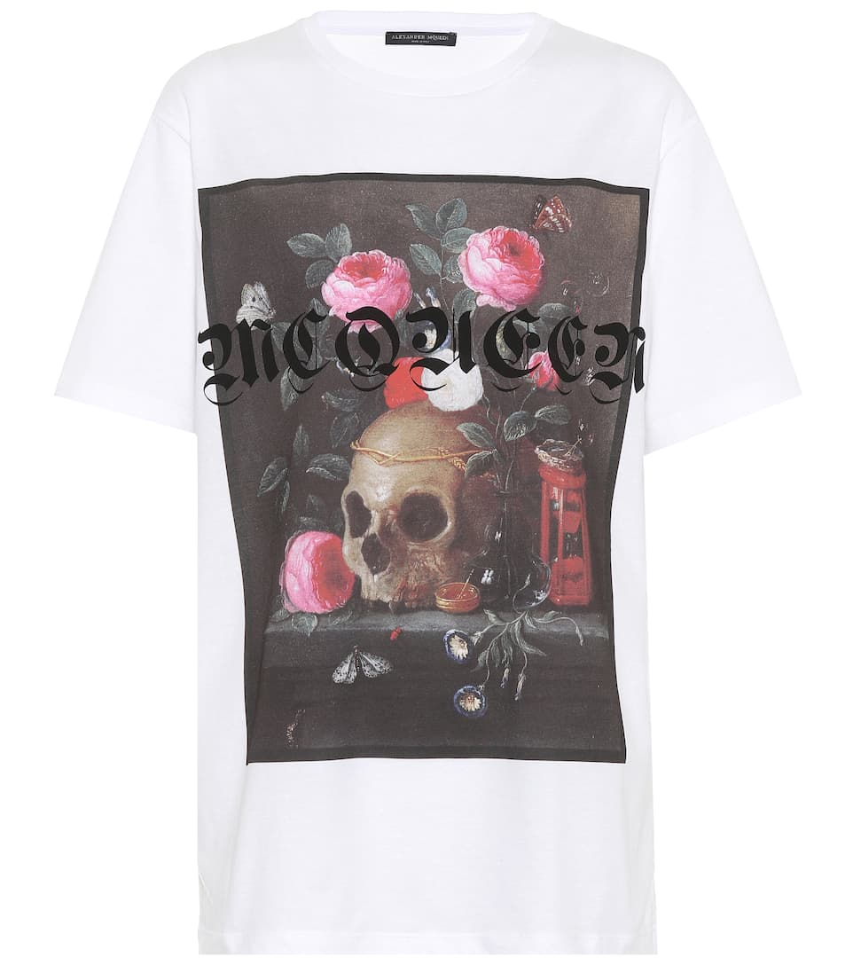 T-Shirt With Still Life Print, White