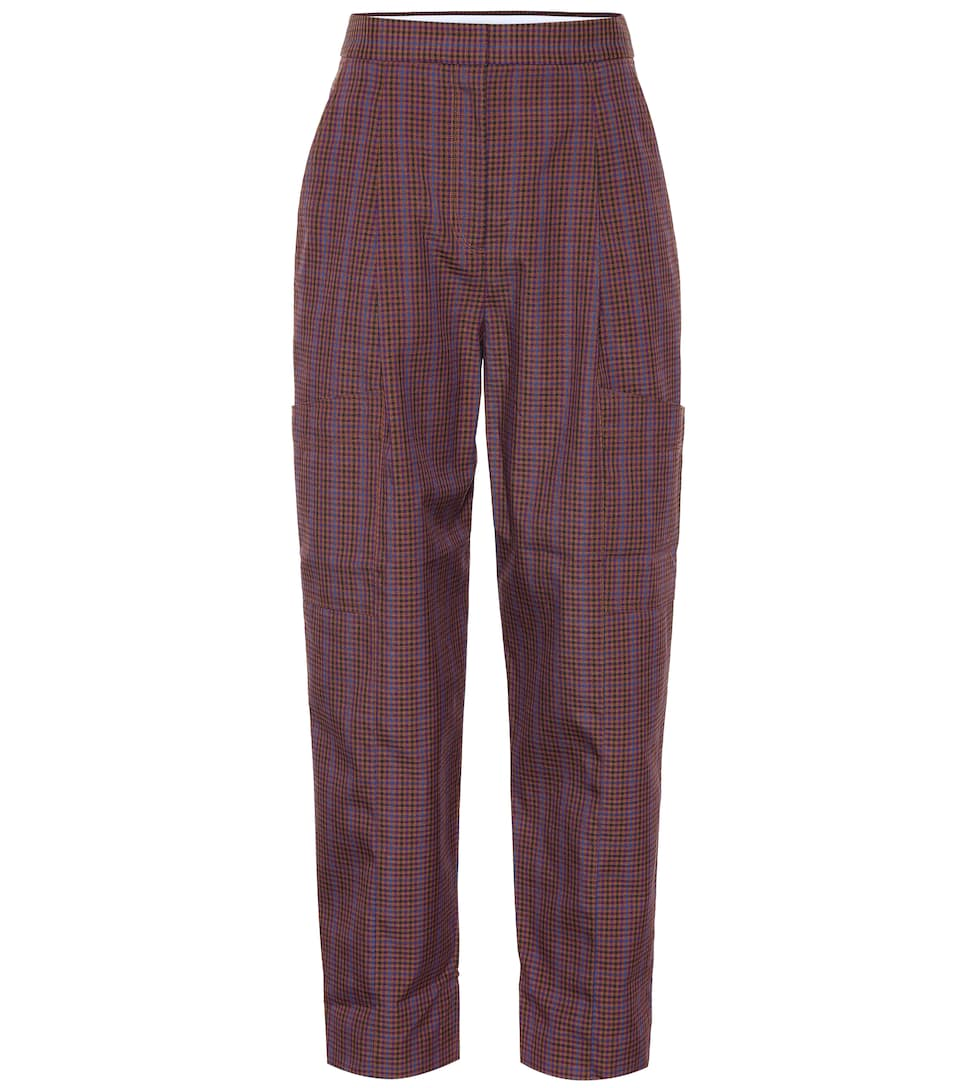 Checked Woven Cargo Pants, Brown
