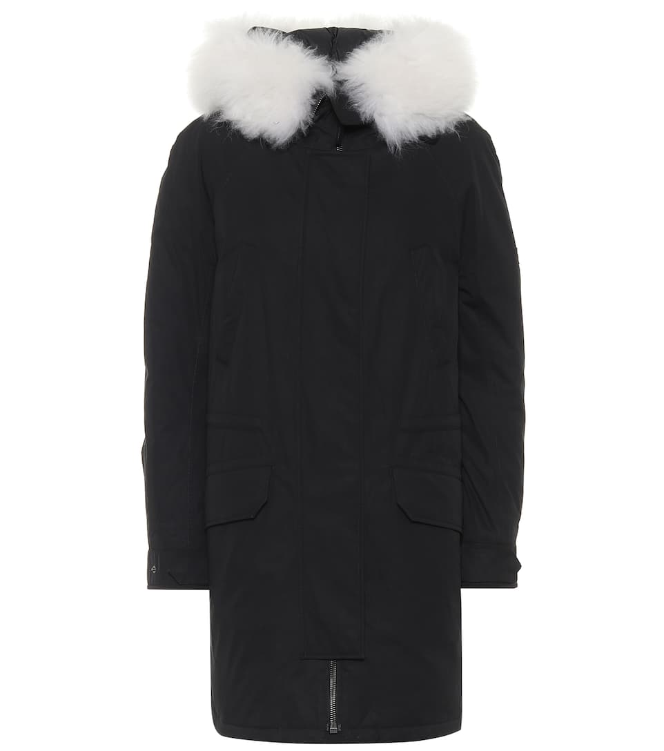 Army shearling trimmed down parka