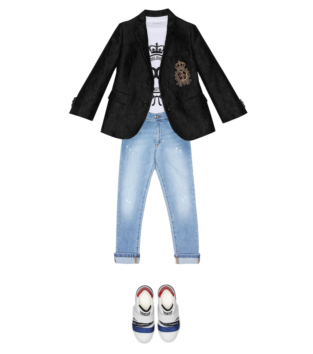 genbz Boy Tops and Pants T-Shirt Short Sleeves in Summer Gold/&White,140cm