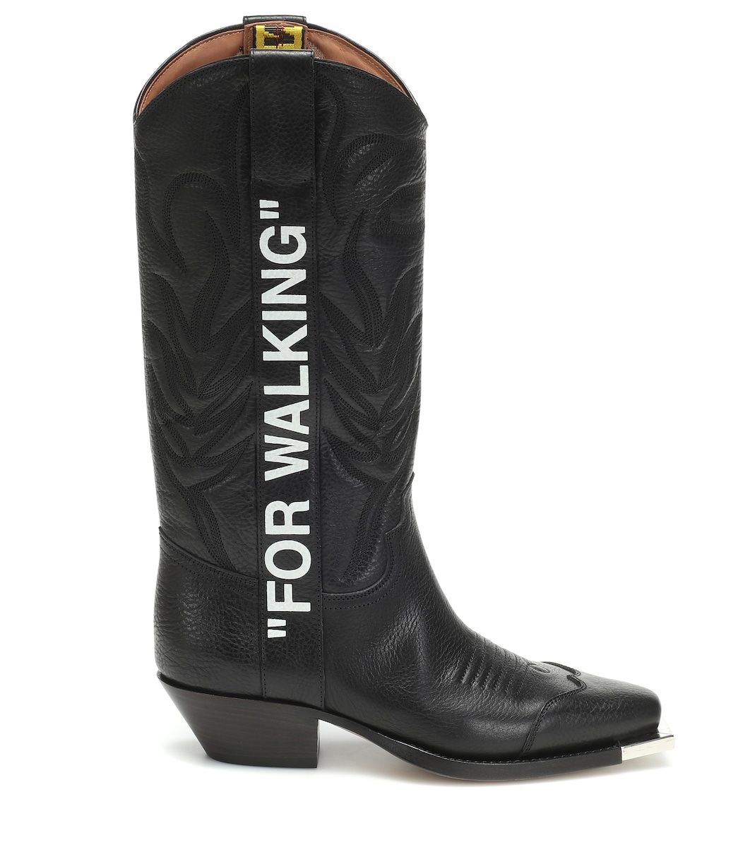 For Walking Leather Cowboy Boots - Off