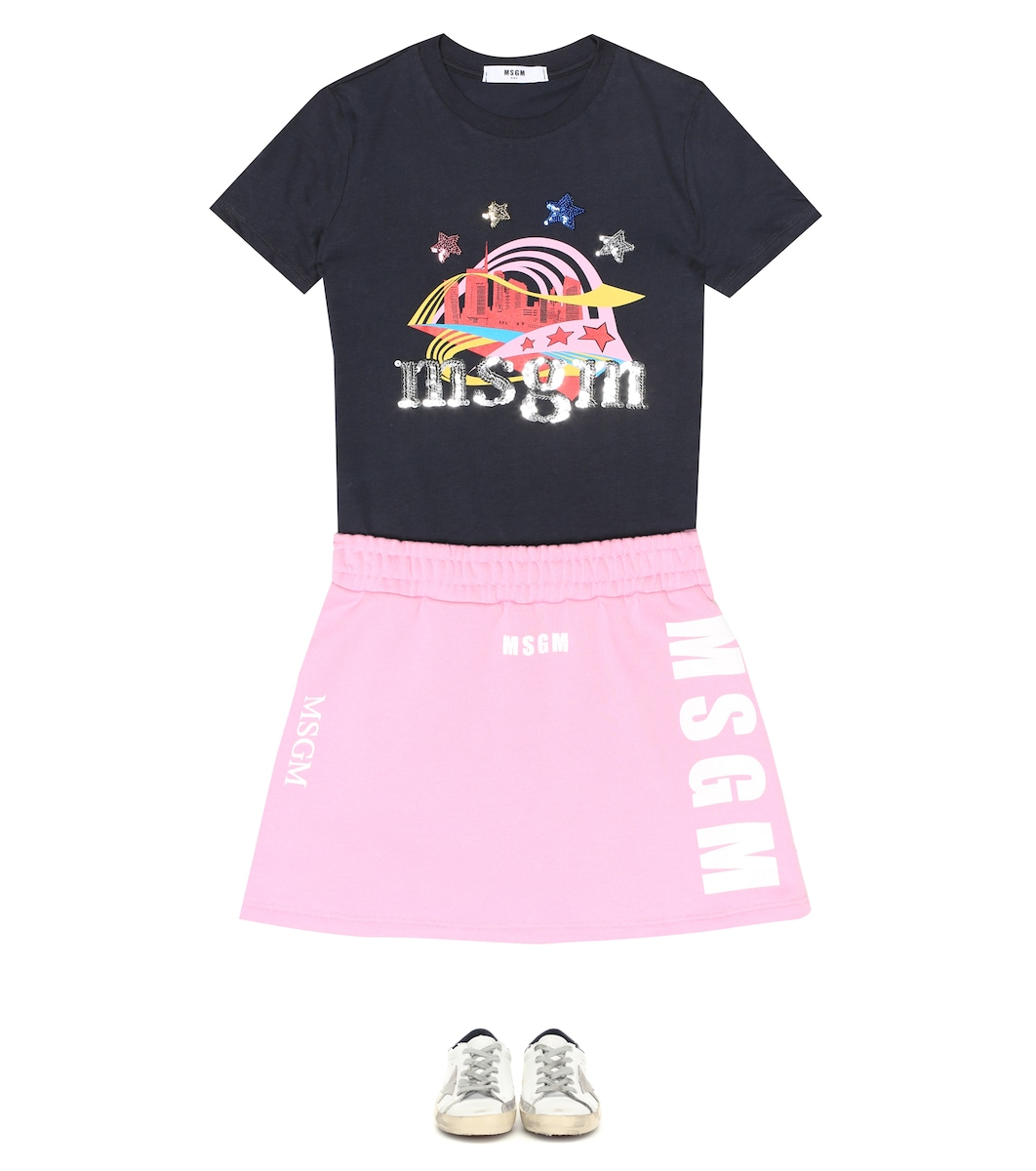 b6a47eefb9 MSGM Kids - T-shirt in cotone con stampa e paillettes   Mytheresa